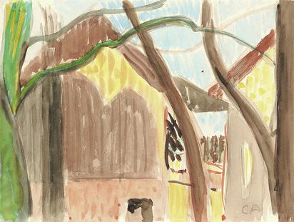 Amiet Cuno, Haus hinter Bäumen