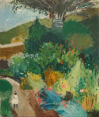 Wiemken Walter Kurt, Gartenlandschaft mit Kind, Collioure