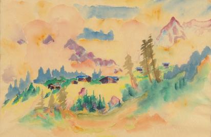 Bauknecht Philipp, Davoser Landschaft mit drei grossen Fichten