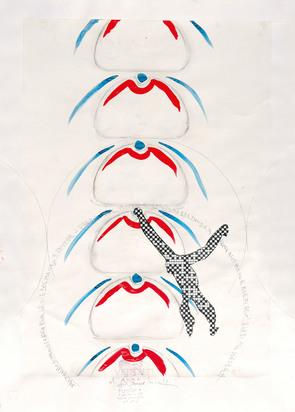Boetti Alighiero, I vedenti, Saltando di palo in frasca per le vie del mondo..., Mitte 1980er Jahre