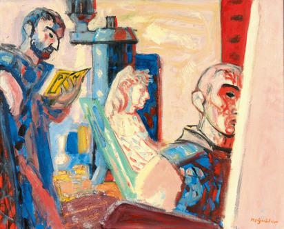 Gubler Max, Interieur mit Maler und Familie Leroy