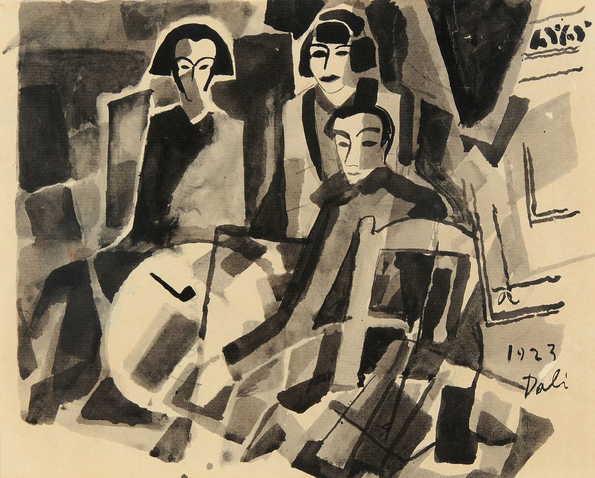 Dalí Salvador, Recto: El artista y Maruja Mallo en el café de Oriente; verso: Estudio