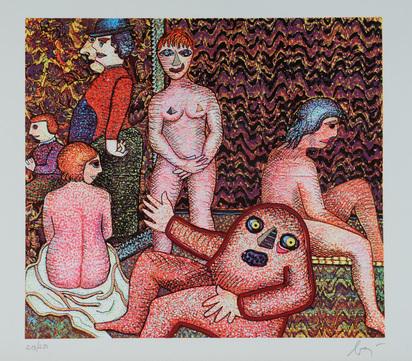 """Baj Enrico, 2 Blätter: Les modèles, aus """"Baj chez Baj"""", 1972; Aristocrate à la Gidouille, aus """"Baj chez Baj"""""""
