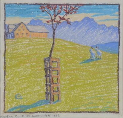 Cunz Martha, Voralpenlandschaft mit blühendem Bäumchen