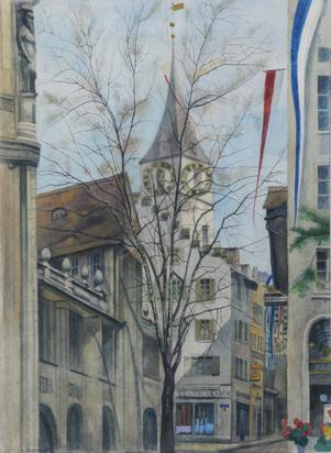 Bosshard Albert, Blick auf Kirche St. Peter, Zurich