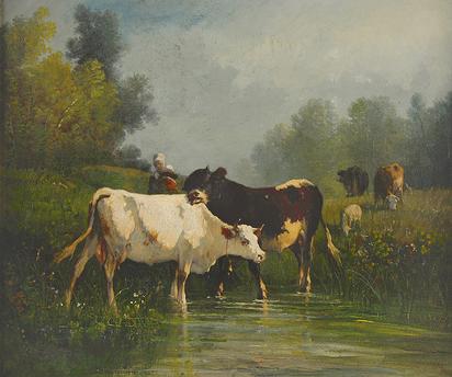 Troyon Constant, Vaches s'apreuvant