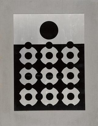 Vasarely Victor, Weiss auf schwarzem Grund