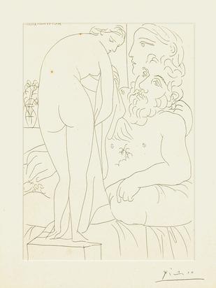 """Picasso Pablo, Sculpteur au repos avec Marie-Thérèse et sa  représentation en vénus pudique, 1933, from """"La suite Vollard"""""""