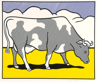 Lichtenstein Roy, Cow Triptychon. Cow going abstract