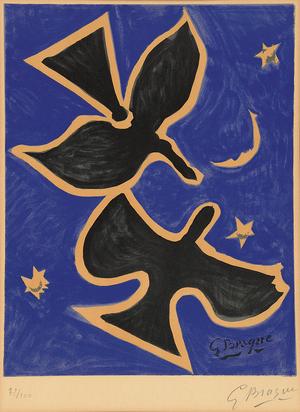Braque Georges, after. Deux oiseaux au ciel nocturne