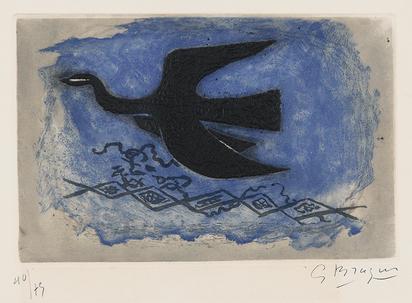 Braque Georges, Oiseau noir sur fond bleu (Oiseau VIII)
