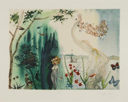 """Dalí Salvador, 2 Blätter aus """"Die vier Jahreszeiten"""" (Frühling & Winter)"""