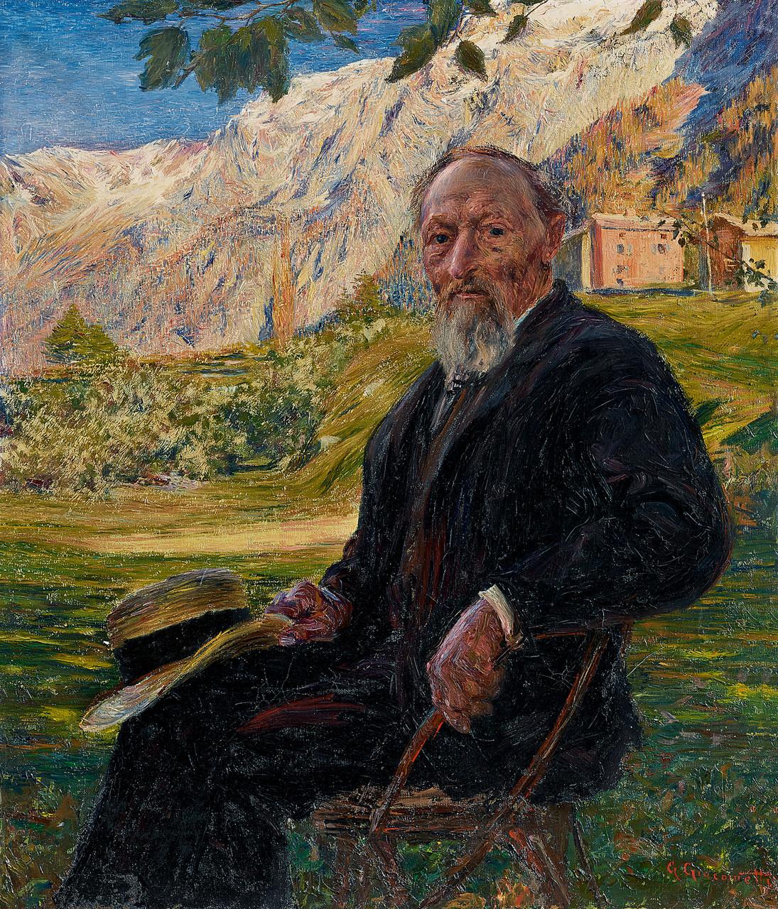 Giovanni Giacometti, Bildnis des Vaters vor Bergeller Landschaft mit Stampa
