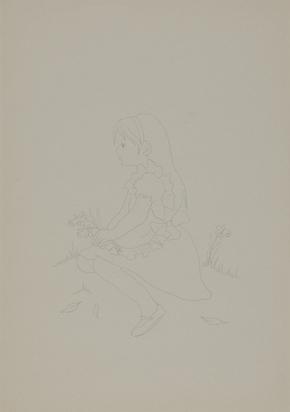 Rondinone Ugo, 4 Zeichnungen: Hirsch und zwei Rehe, 1988; Schwein, 1988; Haus mit Kamin, 1988; Sitzendes Mädchen
