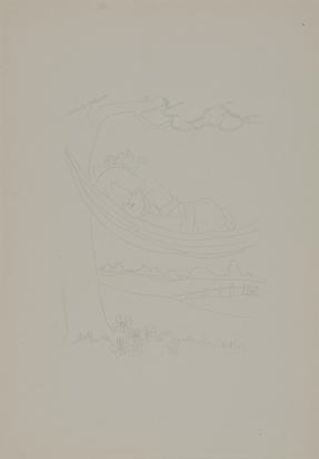 Rondinone Ugo, 5 Zeichnungen: Brille, 1988; Schlafendes Mädchen in Hängematte, 1988; Stehendes Mädchen mit Teddy und Hase, 1988, Spielzeugente, 1988, Trompete spielendes Mädchen
