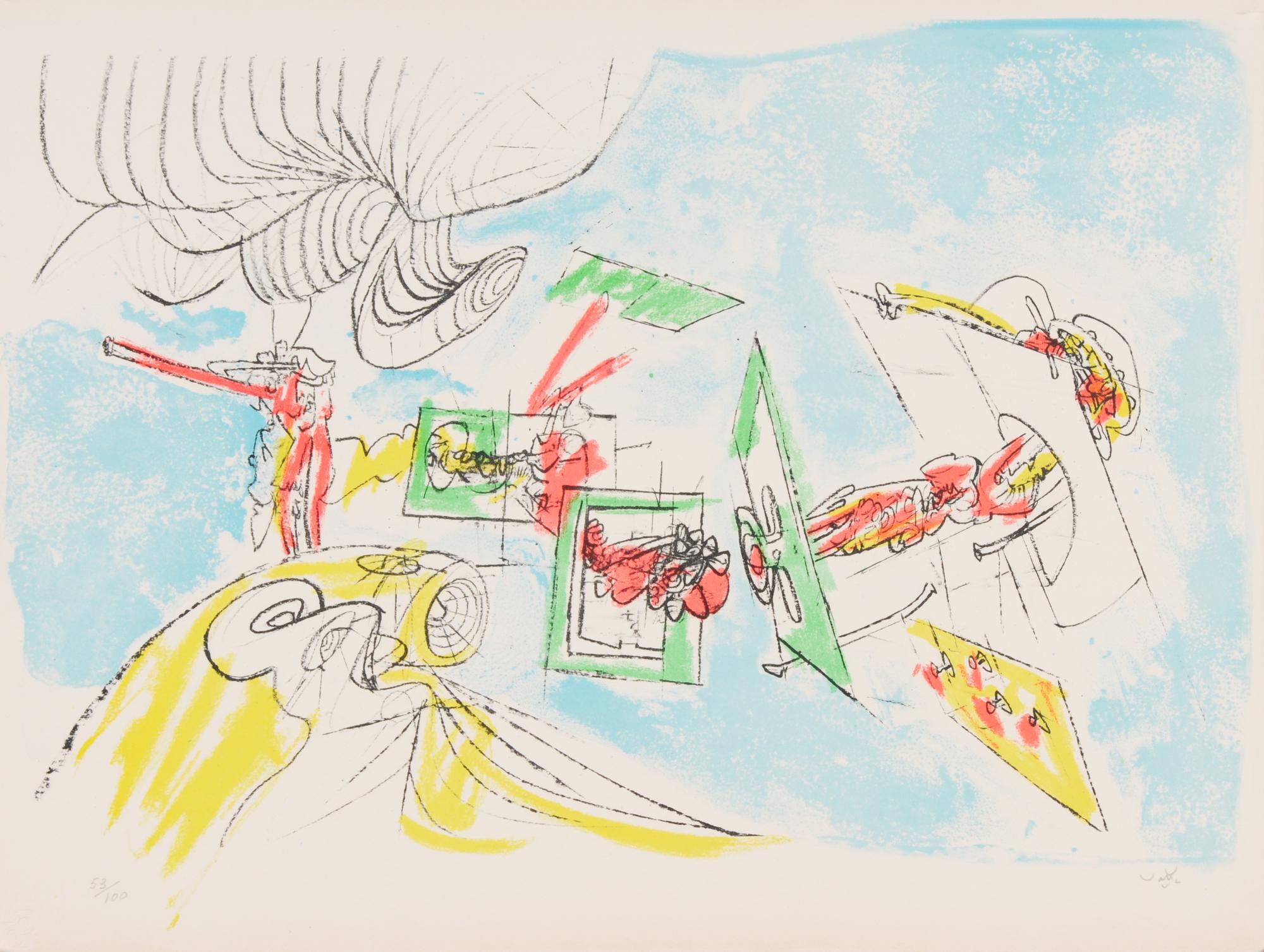 Matta Roberto, 3 Blätter: le visage inférieur, 1973; hecatombe de toros