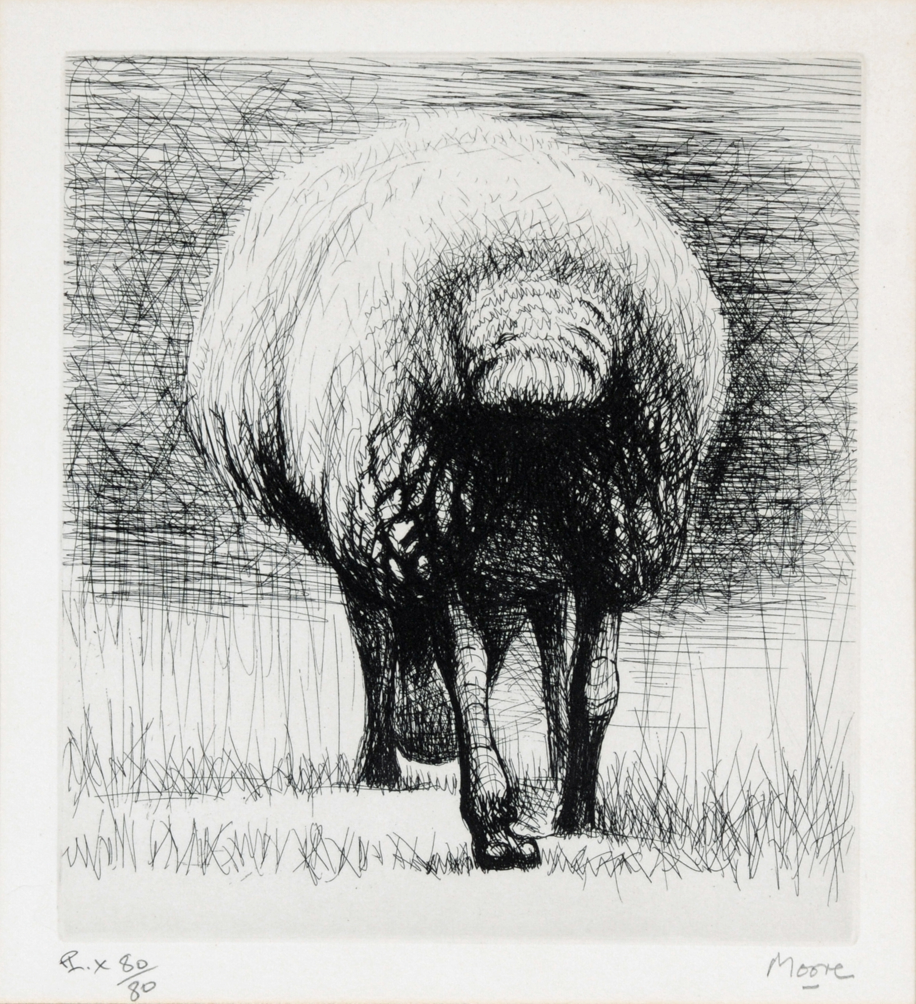 """Moore Henry, 2 sheets: Sheep Back View; Sheep With Lamb, from """"Sheep Album"""""""