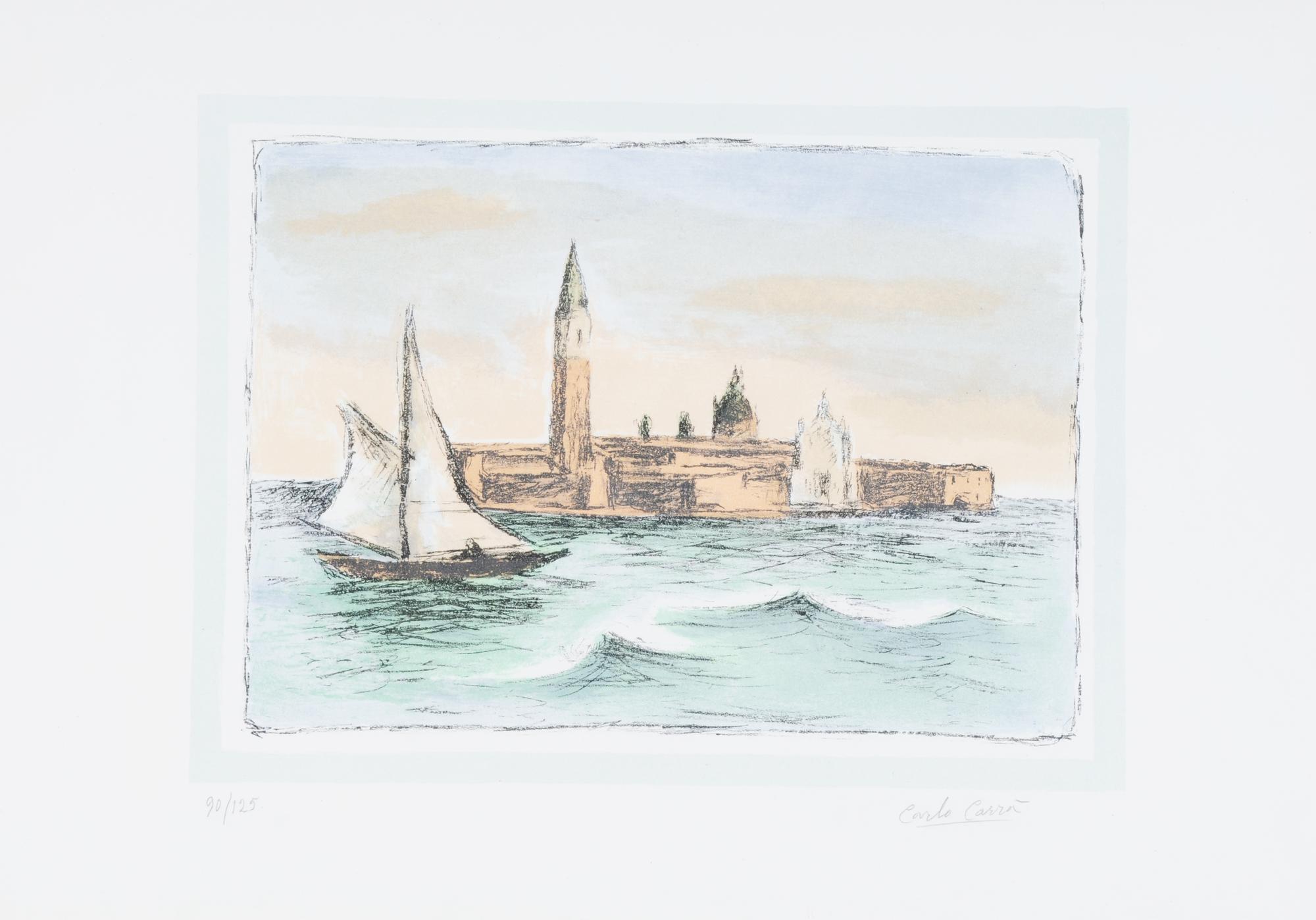 Carrà Carlo, 2 sheets: Castiglioncello, 1962; Venezia, San Giorgio, 1961