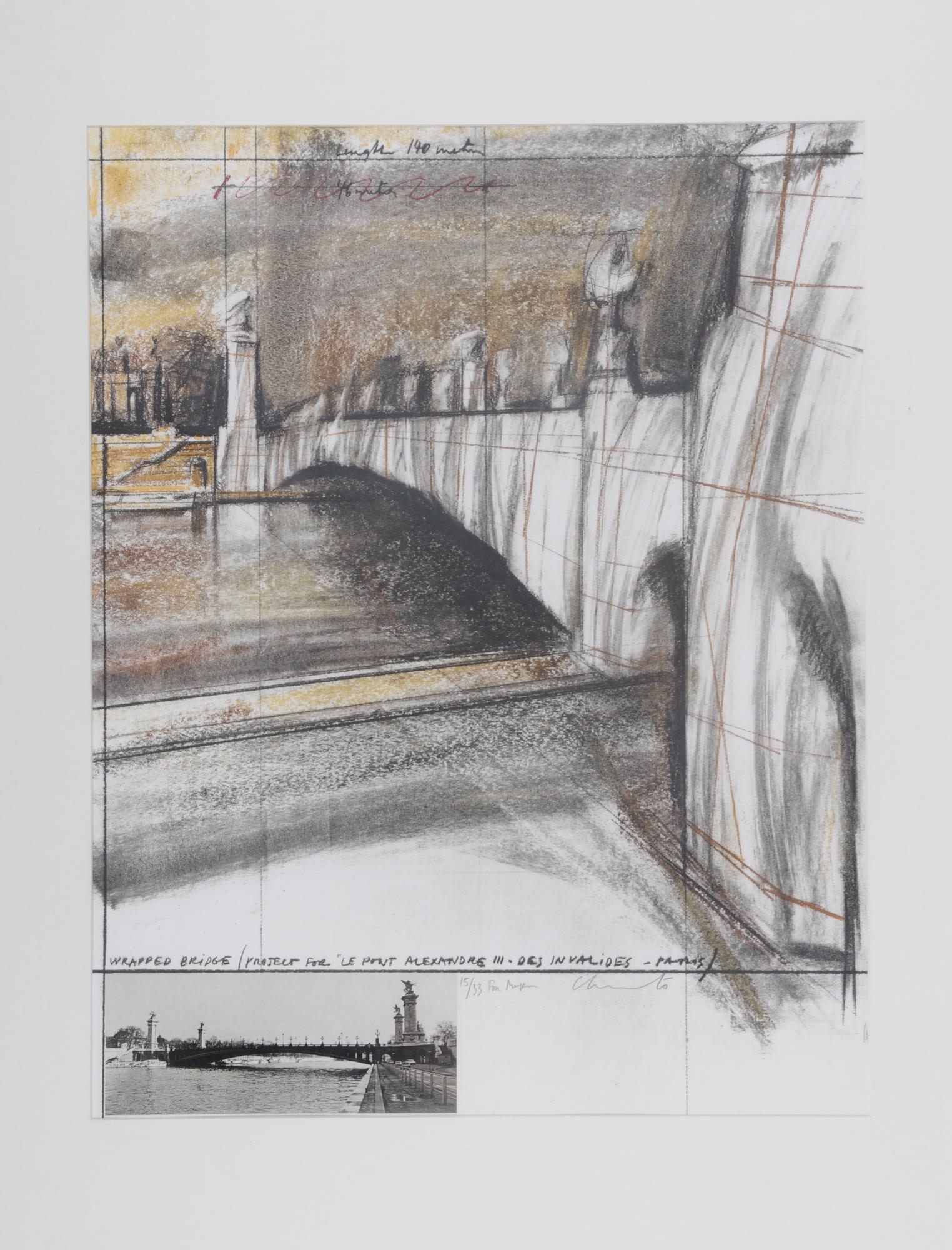 Christo, Wrapped Bridge, Project for Le Pont Alexandre III, Paris