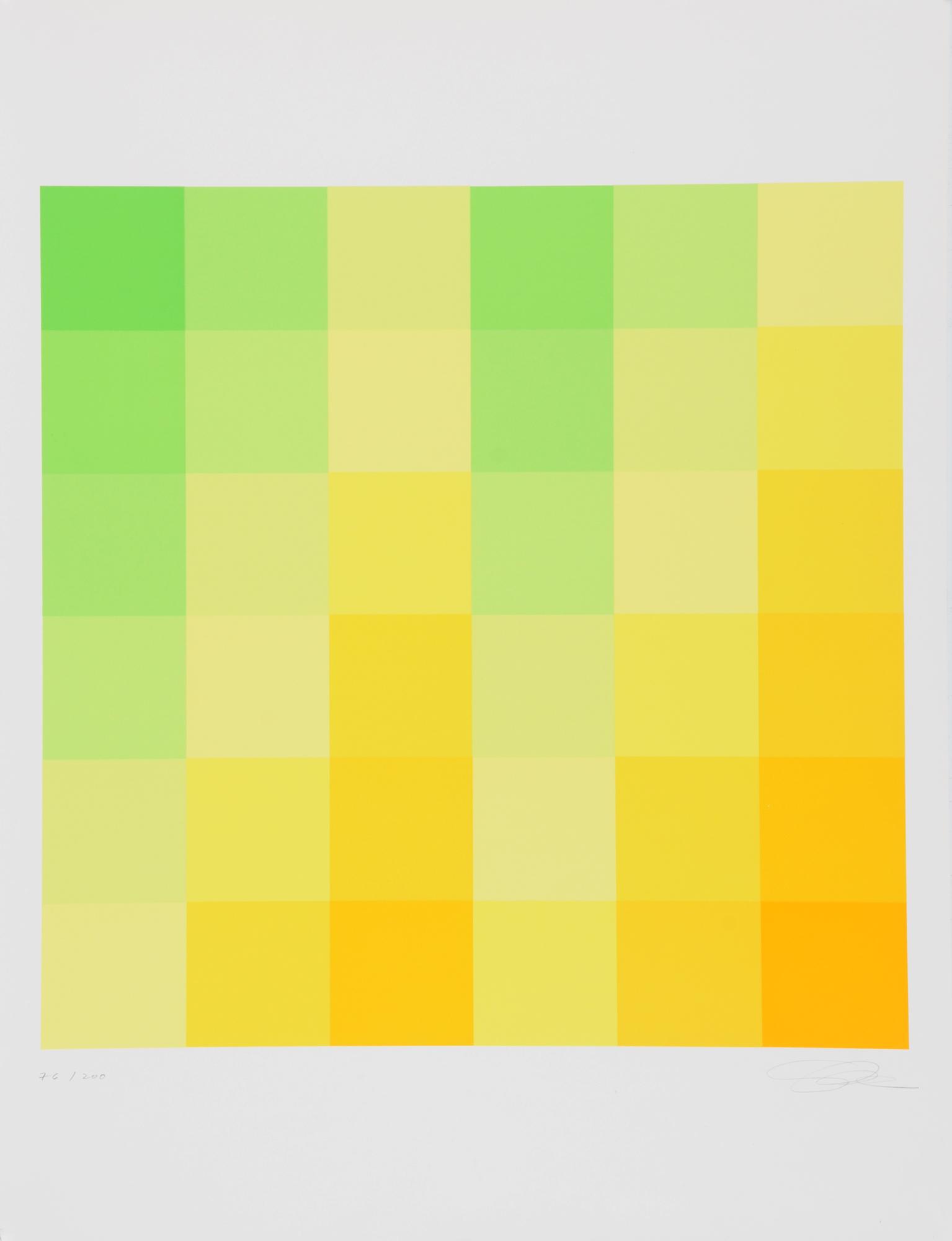 """Lohse Richard Paul, Sechs vertikale systematische Farbreihen von grün zu gelb, 1970, from """"Grafikmappe des Schweizerischen Kunstvereins"""""""