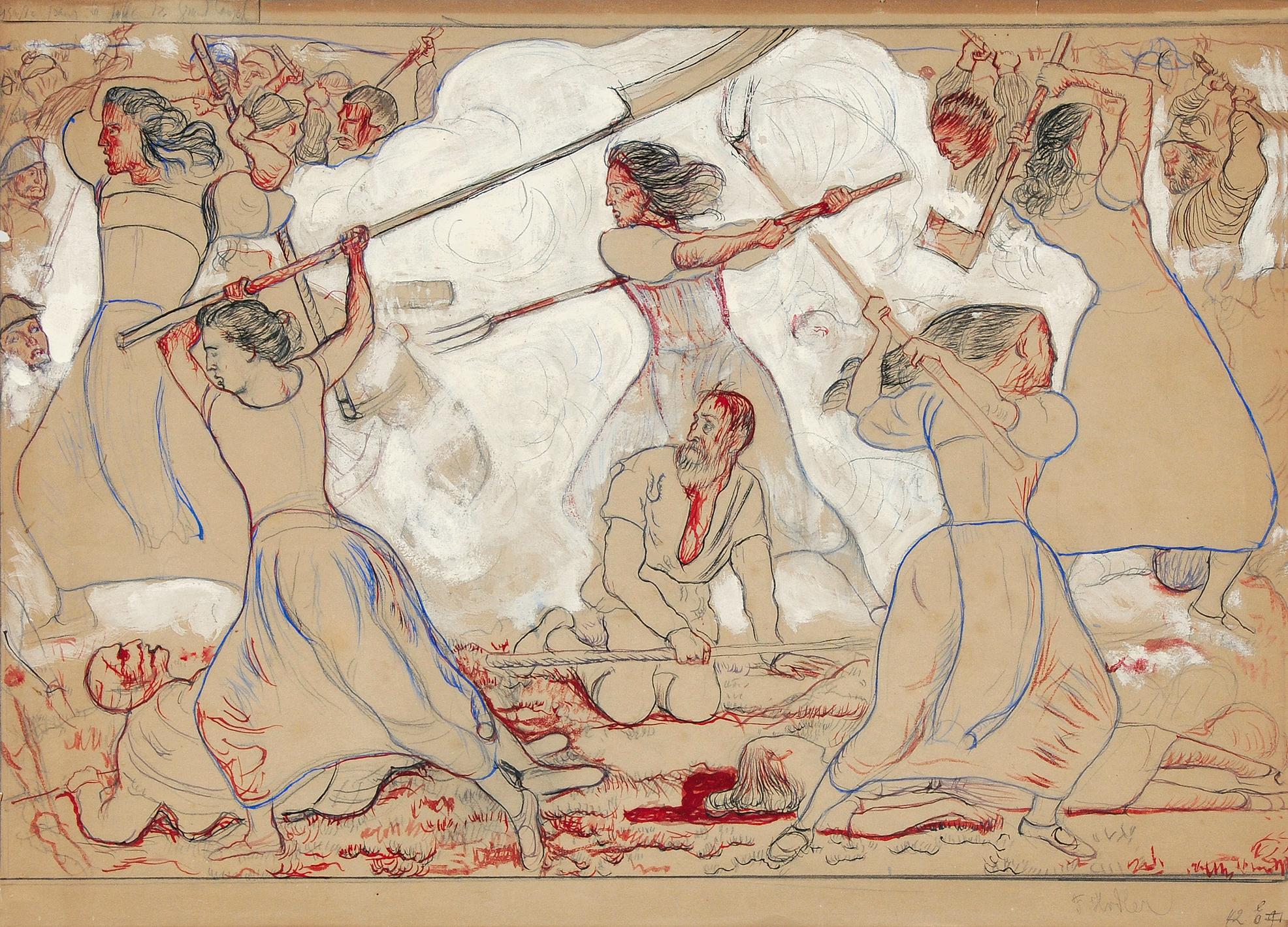 """Hodler Ferdinand, Study for """"The Battle of Fraubrunnen"""""""