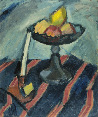 Gimmi Wilhelm, Nature morte, coupe de fruits et bougeoir