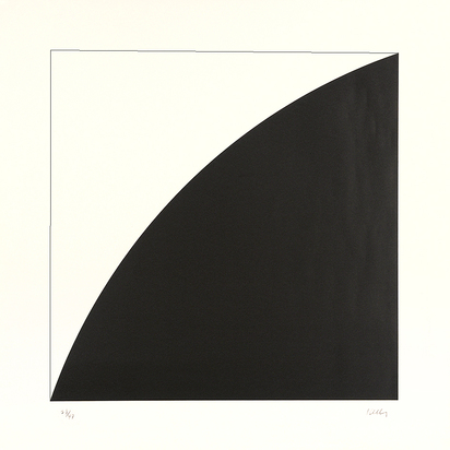 Kelly Ellsworth, 2 sheets:  White Curve I, 1973; Black Curve I