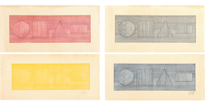 LeWitt Sol, Four Part Combinations of Six Geometric Figures in Four Colors
