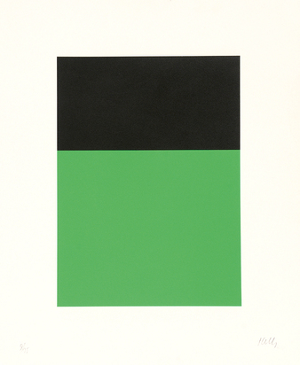 "Kelly Ellsworth, Black/Green, from ""Series of Ten Lithographs"""