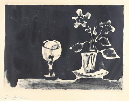 Nature morte au verre et fleurs