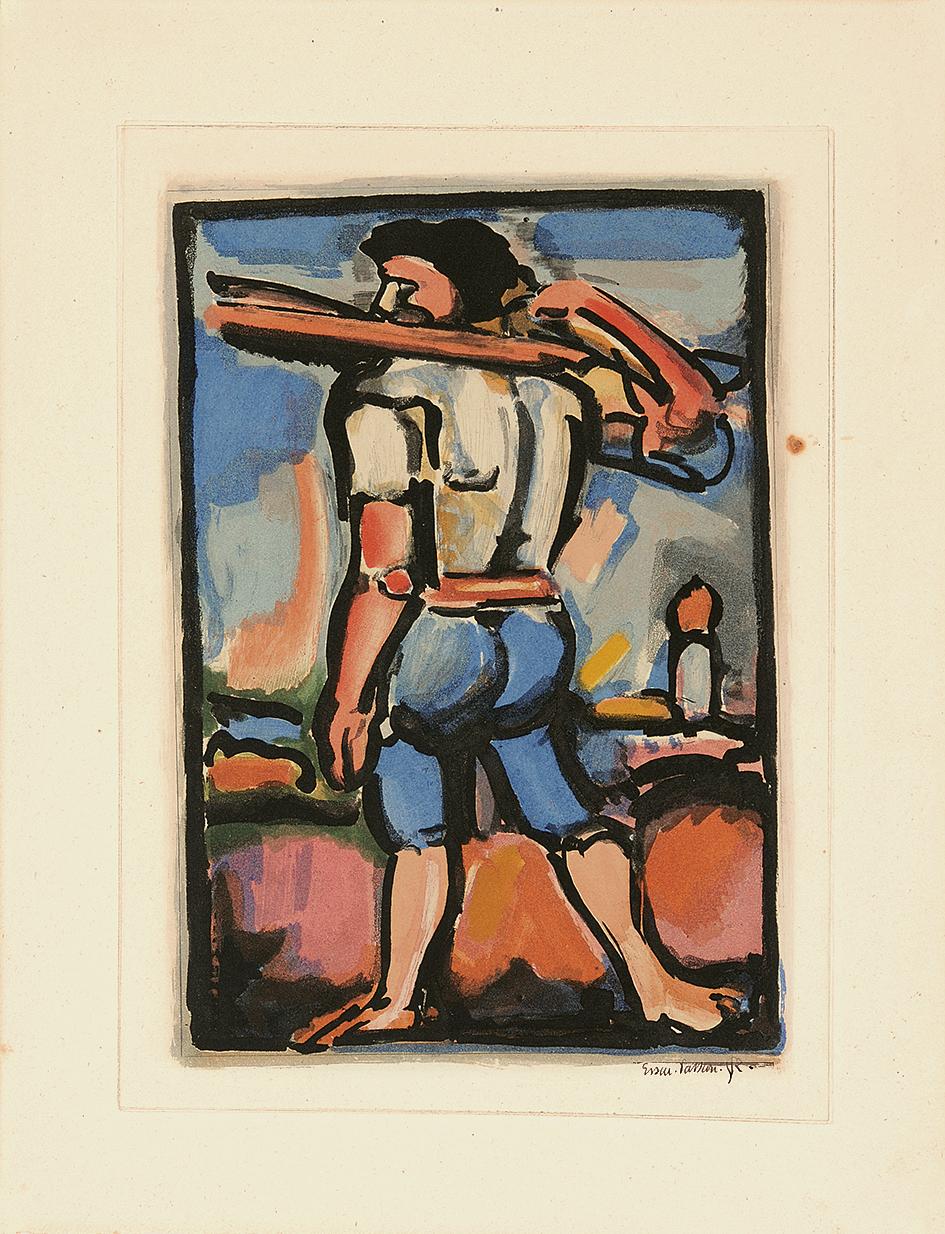 """Rouault Georges, Aide-bourreau (portant un des bois de la croix), from """"Passion"""""""