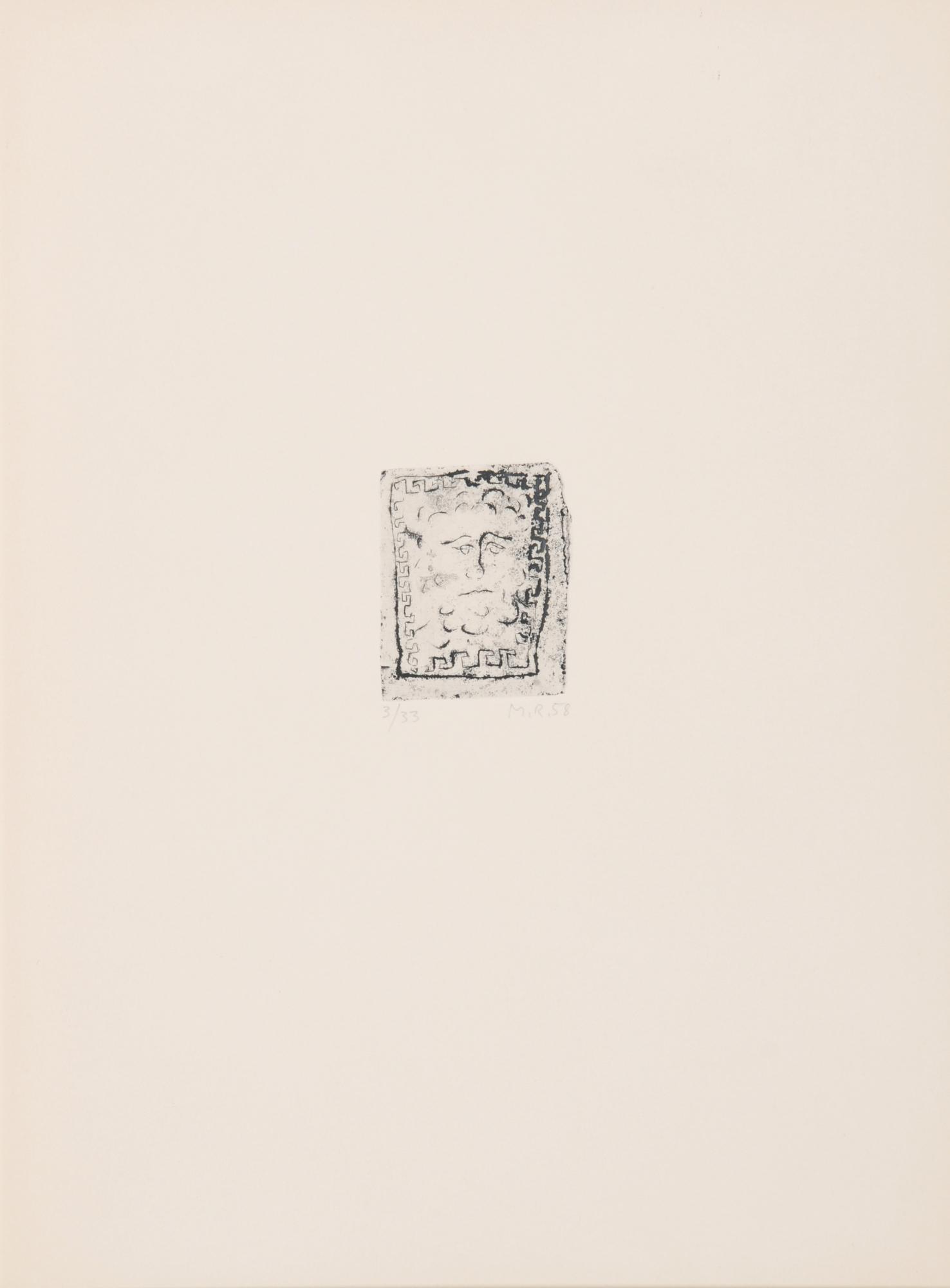 Raetz Markus, 7 Radierungen (Lüscher-Mappe): Schlösschen, 1958; Bäumchen, 1958; Mäander, 1958; Ringer, 1958; Zwei Tröge, 1974; Soundso, 1974; Ein Landschäftchen, 1974