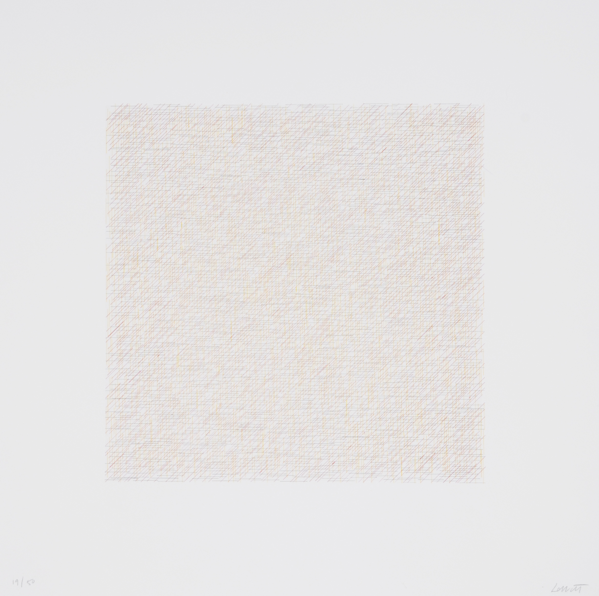 """LeWitt Sol, Sheet from """"Lines of Inch, Four Directions, Four Colors"""""""