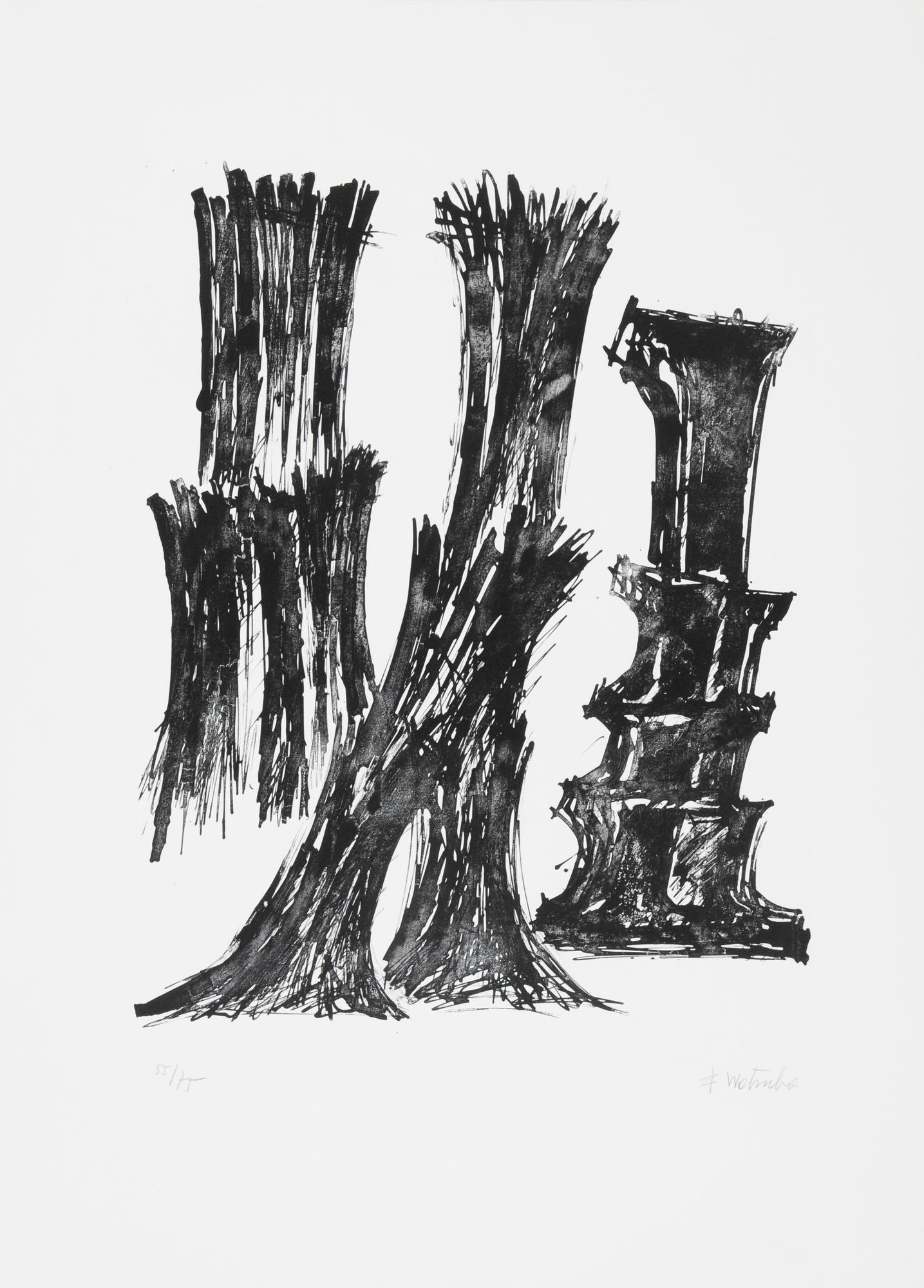 Wotruba Fritz, 2 sheets: Untitled