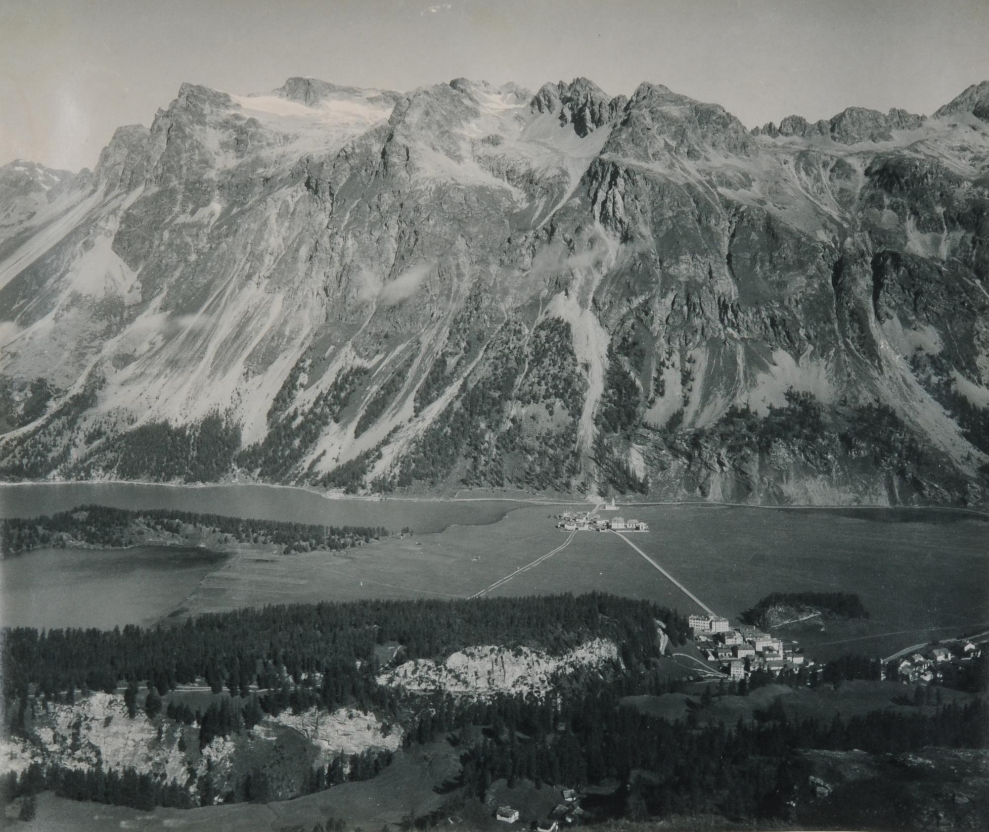 Braun Adolphe, 3 Fotografien: Blick auf Piz Lagrev; Blick von Muottas Muragl auf Celerina und St. Moritz; Silvaplana