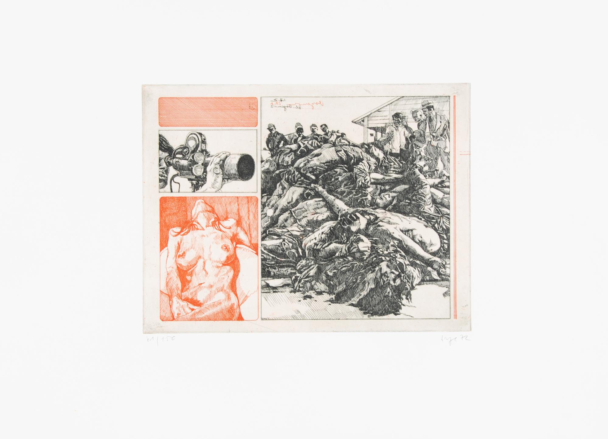 Sorge Peter, 7 sheets: Blow up, 1970; Bomber, 1970; Power, 1970; Ohne Title, 1971; Kleiner Voyeur, 1972; Untitled, 1972; Untitled