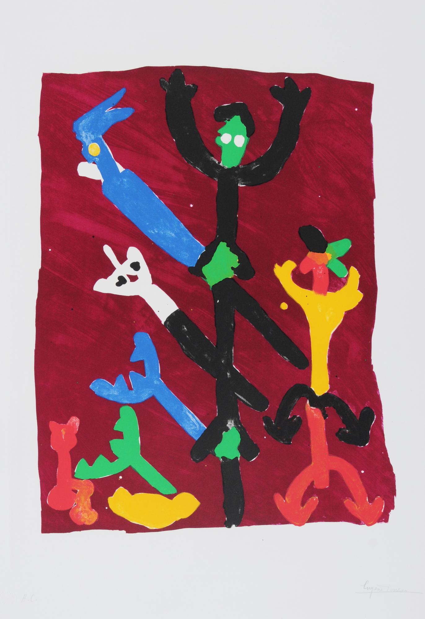 Ionesco Eugène, 5 Blätter: Ohne Titel (2); Yeux nombreux, tête unique; Les petits hommes, 1983; Les hauts danseurs