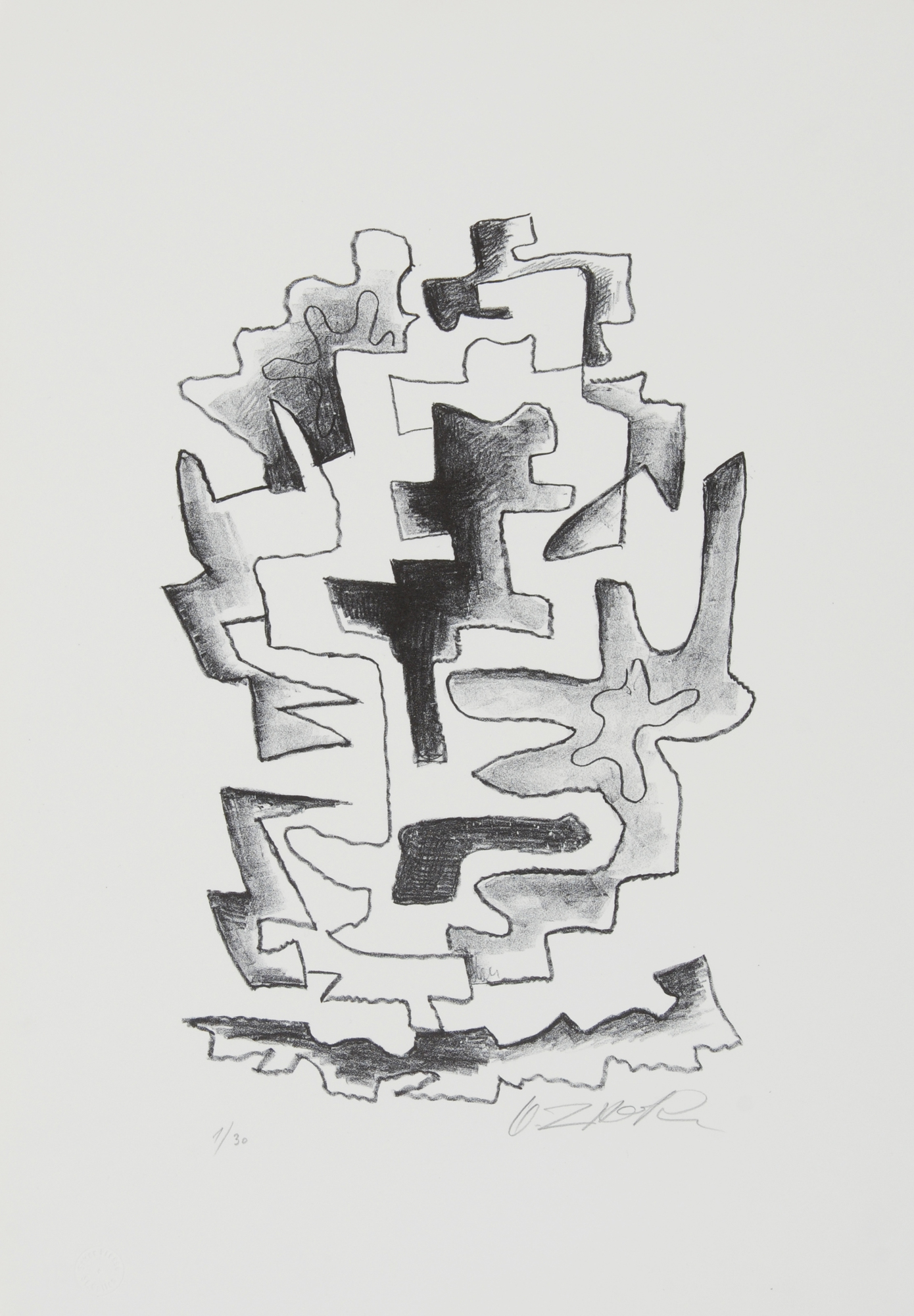 Zadkine Ossip, 2 sheets: L'inspire, 1961; Le noir souriant