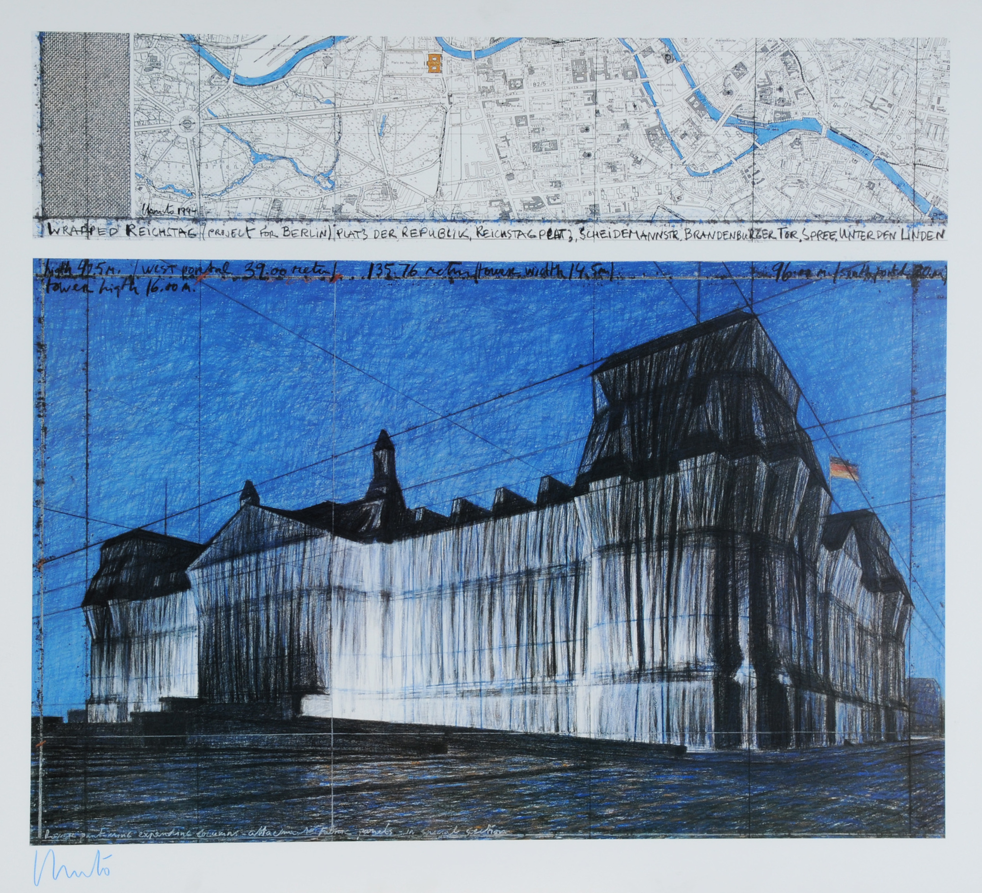 Christo, Wrapped Reichstag (Project for Berlin), Platz der Republik