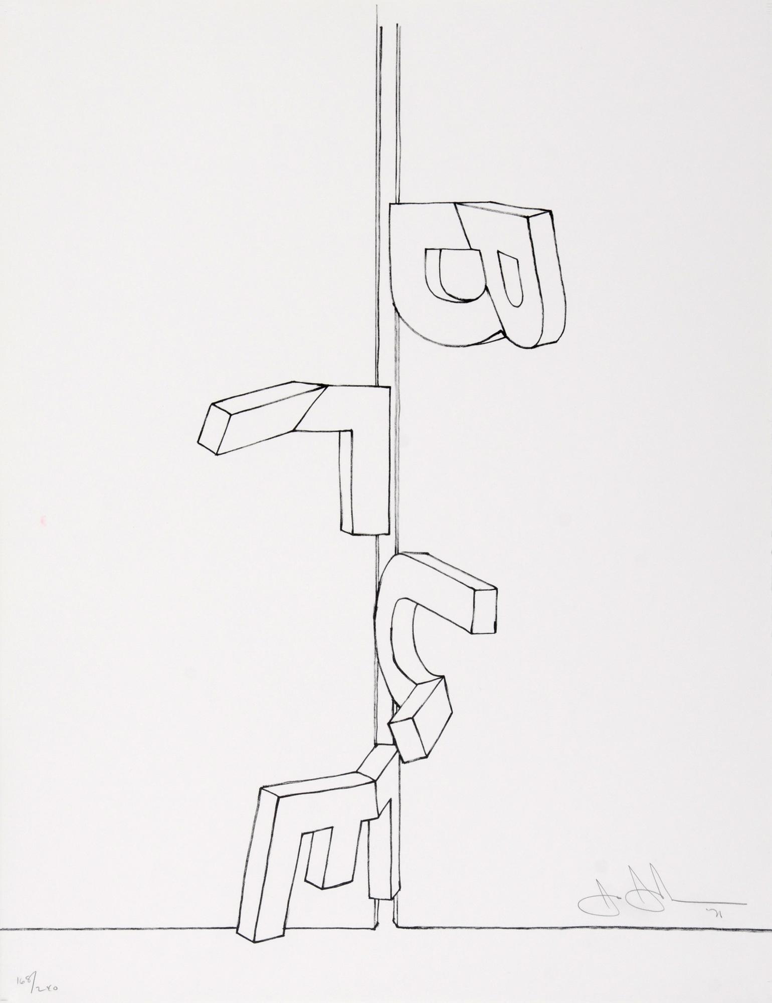 """Johns Jasper, Bent """"Blue"""", 1971, from """"Grafikmappe des Schweizerischen Kunstvereins"""""""