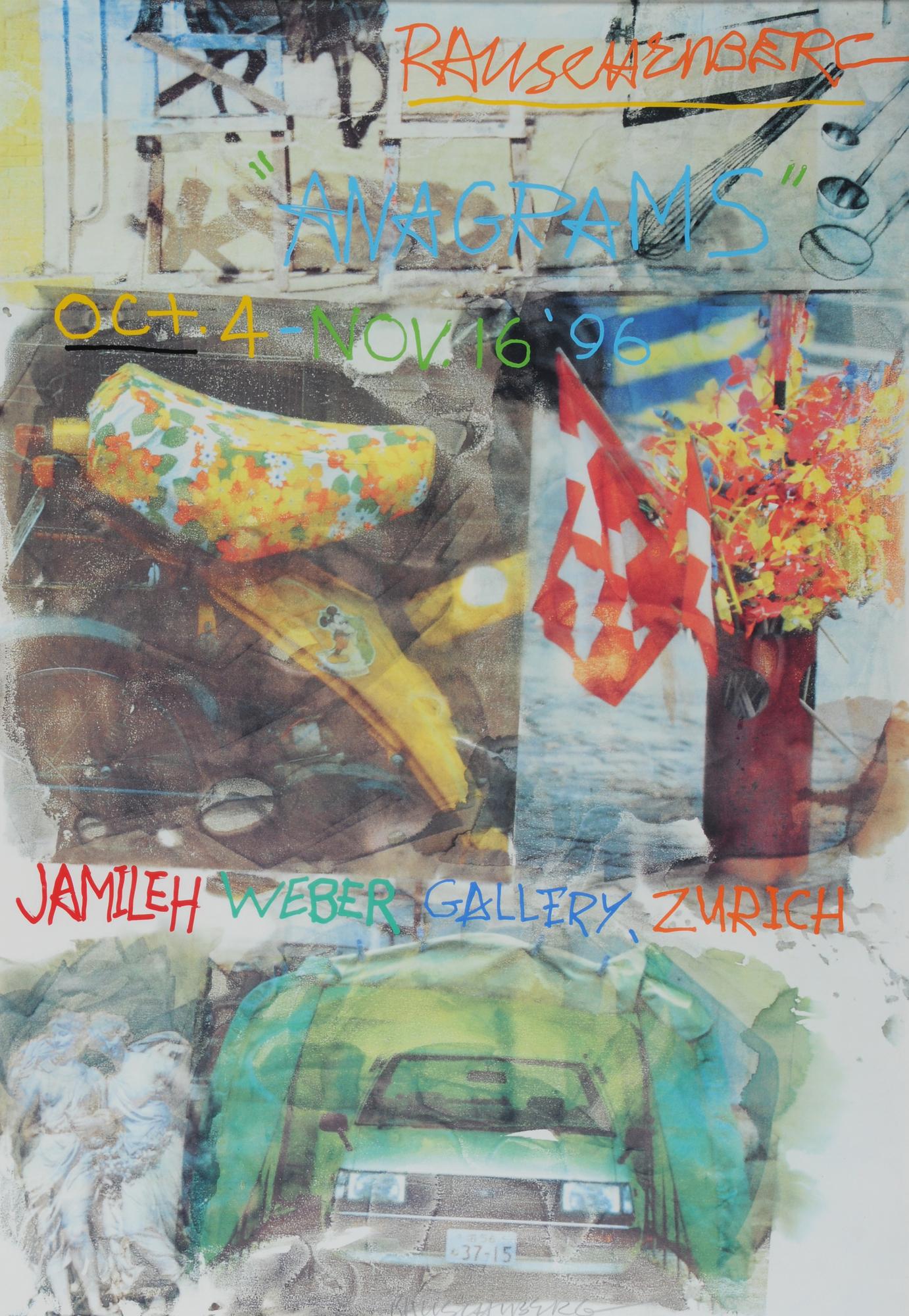 """Rauschenberg Robert, Plakat. Rauschenberg,  """"Anagrams"""", Oct. 4 - Nov. 16 '96, Jamileh Weber Gallery, Zurich"""