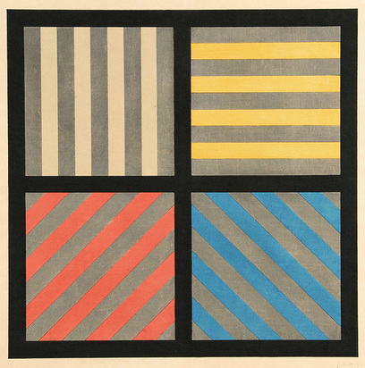 Lewitt Sol, Lines in Four Directions, with Alternating Color and Gray Bands