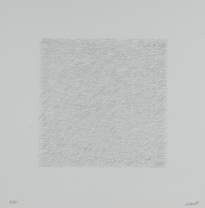"Lewitt Sol, 5 sheets from ""Lines of One Inch in Four Directions and All Combinations"""