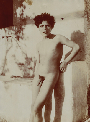 Gloeden Wilhelm von, 3 photographs: Sicilian Boy Posing at a Boat; Nude Young Male at the Monte Ziretto, approx. 1890; Sicilian Boy Posing at a Wall, approx. 1900