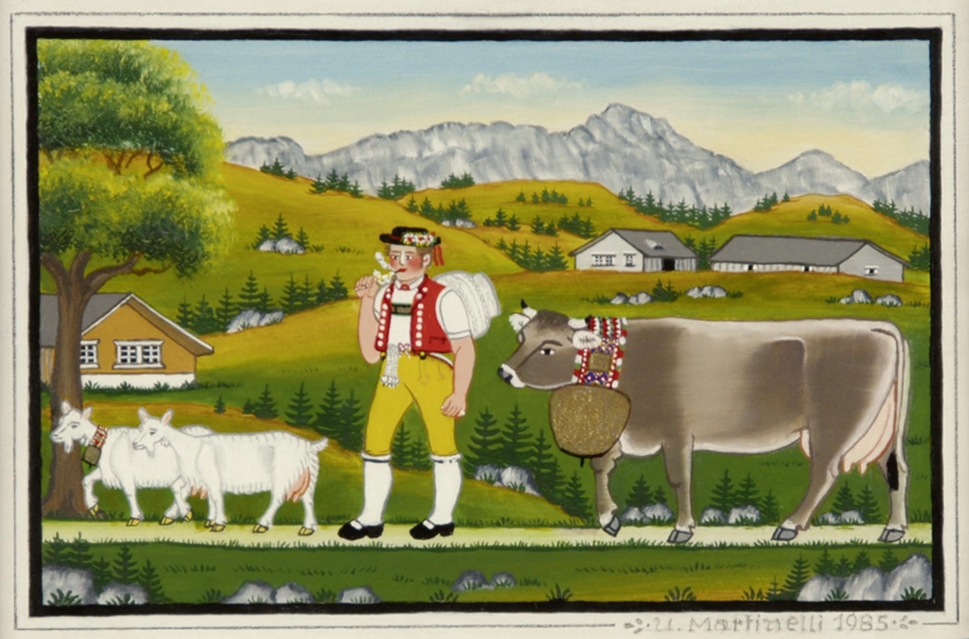 Martinelli Ulrich, Senn mit zwei Ziegen und Kuh vor Berglandschaft