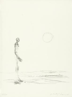 "Giacometti Alberto, Homme debout et soleil, 1963, from ""Grafikmappe Hochschule St. Gallen"""