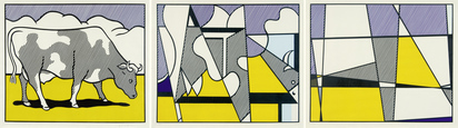 Lichtenstein Roy, Cow Triptych (Cow Going Abstract)
