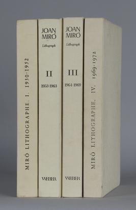Miró Joan, 4 Werkkataloge: Fernand Mourlot. Joan Miró, Lithographe I, 1930-1952; Fernand Mourlot. Joan Miró, Der Lithograph II, 1953-1963; Fernand Mourlot. Joan Miró, Der Lithograph III, 1964-1969; Fernand Mourlot. Joan Miró, Lithographe IV, 1969-1972