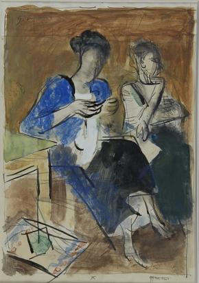 Gimmi Wilhelm, 2 sheets: Zwei Frauen; Frau an Tisch sitzend
