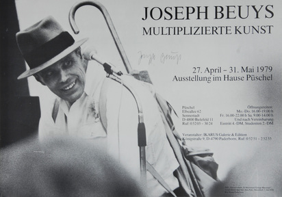 Beuys Joseph, 4 exhibition posters: Incontro con Beuys, Pescara, 1974; Joseph Beuys, Multiplizierte Kunst, 1979; Joseph Beuys, Grafik, Objects, Poster, 1984; Joseph Beuys, The Seibu Museum of Art, Tokio, 1984